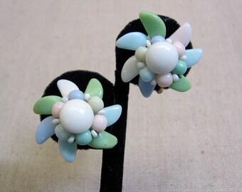 Glass Flower Screwback Earrings, Pastel Beaded Earrings, Springtime Earrings
