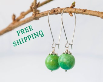 Lime green earrings, Green dangle earrings, Bright green earrings, Dangle green earrings, Bright earrings, 15mm 0.6in