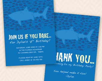 Ocean & Shark Birthday Party Invitation and Thank You Card Design