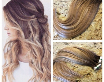 """5 Star European Remy Double Drawn Highlighted Balayage Tape-in Seamless weft 20"""" Hair Extensions 20pcs"""