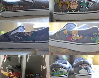 Custom Hand-Painted Shoes-Disney Characters/ Cartoons/ Anime/Star Wars/ Harry Potter/ Hunger Games/ Twilight/ Superhero/Pokemon