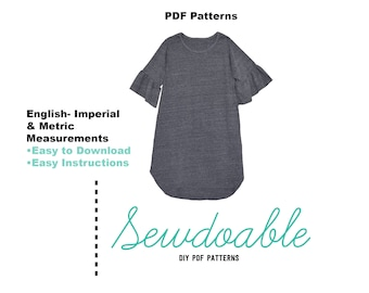 Ruffle Tee Shirt Dress PDF Pattern18/24M-9/10Y