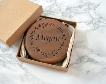 Personalised Walnut Compact Mirror| Wooden pocket Mirror | Maid of honour gift | anniversary gift | Wedding day Gift