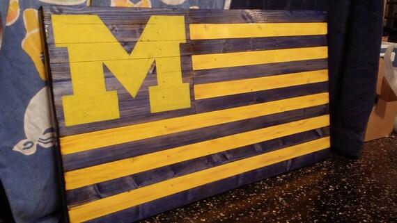 University Of Michigan UofM Premium Wood Flag Wall Art Less