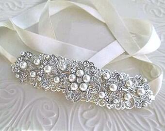 Wedding headband Bridal headband Pearl wedding hair piece bridal silver hair vine crystal Pearl headband, Ivory,Pearl Bridal hair Accessory