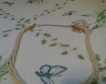 Twisted 4 Strand Mini Pearls with Gold Ends & Lobster Clasp