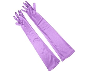 Lavender Satin Ladies Gloves Perfect for Opera, Wedding, Evening Wear, Bridal, Party, Prom, Prop, Bridesmaid Gift #A189
