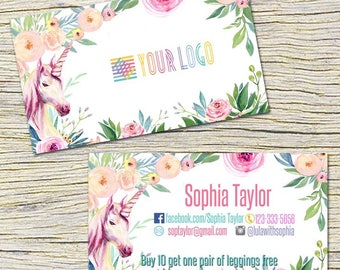 Unicorn Punch Cards,Business Cards, Fast Free Personalization and Change, Digital Punch Cards,Home Office Punch Card,Mandala Business card
