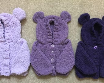 Hand Knitted Baby Teddy Cardies
