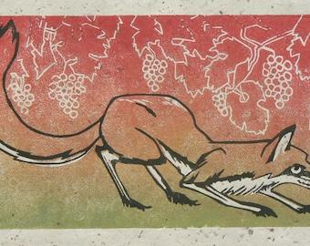 Fox linocut print