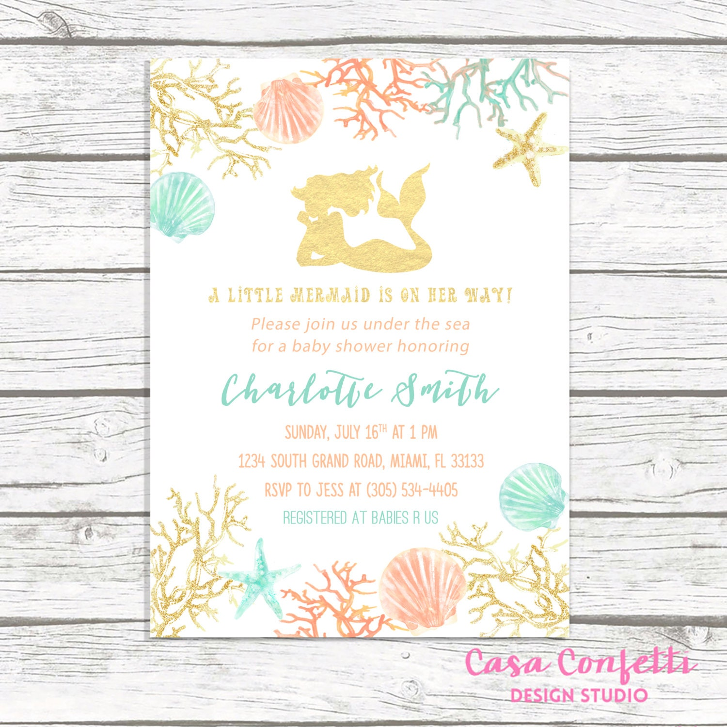 Mermaid Baby Shower Invitation, Under the Sea Baby Shower Invitation ...