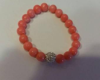 Trendy, Modern Pave' Salmon Pink Coral , and Swarovski Crystal Disco Bead Stretch Bracelet