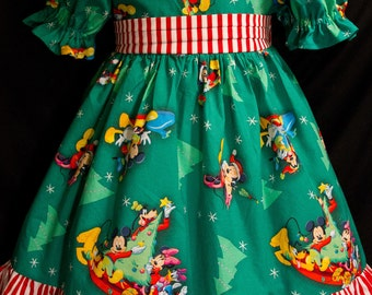 MICKEY on GREEN DEXLUXE Christmas Dress Disney Custom Size