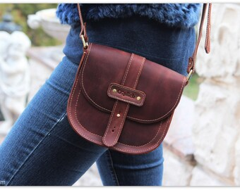 Waxed leather crossbody bag Women's-Leather Bag-Cognac brown leather crossbody bag-Small purse -Leather Saddle bag - Gift for Her