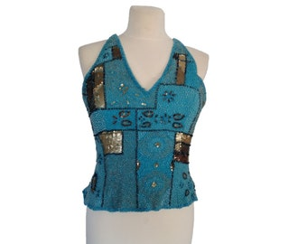 Embellished Turquoise Bustier Crop Top, Handmade Embroidery Beadwork