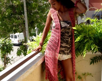 Long chain vest, fringed waistcoat, mélange cotton On red, customizable for size and color