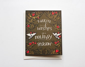Warm Wishes for a Holiday Season - Xmas Tree Card