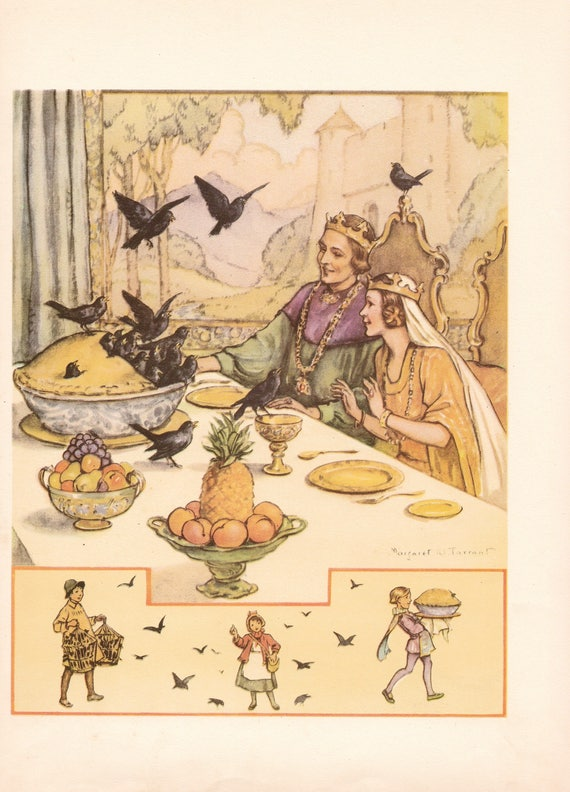 """Illustration of nursery rhyme """"Sing a Song of Sixpence"""" by Margaret Tarrant, 12 x 9 inches, 1950 book illustration"""