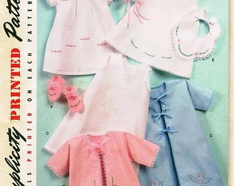 Sz - XXS/L - Simplicity 2900 Vintage Reproduction 50's  - Babies' Layette and Bonnet In Three Sizes - Details Printed on Pattern Peices