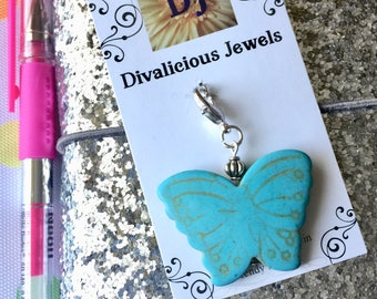 Butterfly TN Charm, Junk Journal Charm, Traveler's Notebook Charm, Magnesite Charm, Zipper Pull, Planner Charm, Purse Charm, Bible Charm