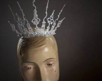 Crown, Clock Hand Crown, Gothic Crown, Cosplay Crown, White Witch Crown, Narnia Crown, Ice Queen Crown, Winter Crown, Tiara, Style C-3