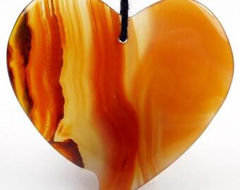 45mm Heart Shape Translucent Agate Pendant Bead