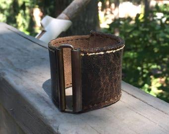 Leather cuff bracelet, recycled cuff bracelet, cuff bracelet, bohemian bracelet, bohemian cuff, recycled jewelry, rocker cuff