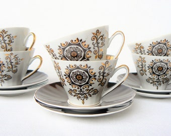 ESPRESSO Coffee Set Vintage/ Set of 2 Porcelain Coffee Cups and Saucers/ Floral Decal & Gold Rim/  Latvia