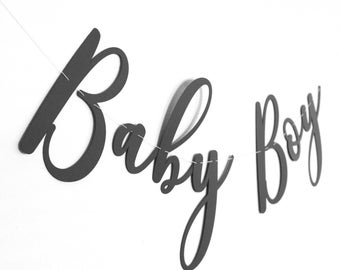 Baby Boy Banner in Cursive Black Text - Made from Premium Cardstock
