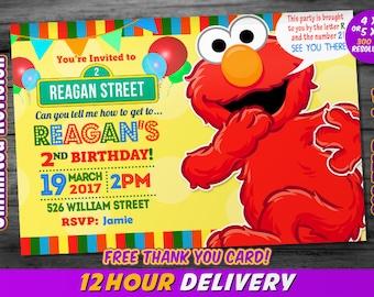 Elmo Invitation with FREE Thank you card / Elmo Birthday Invitation / Sesame Street Invitation / Elmo Birthday / Elmo Invite / Elmo Party