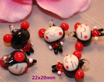 5 charm doll Chinese glass 22mm pendant Charms.