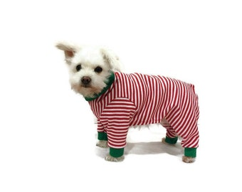 Christmas Dog Pajamas or Cat Pajamas - Red and White Stripe Christmas Dog Pajamas or Cat Pajamas - Dog Clothes - Cat Clothes