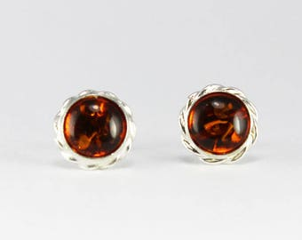 Amber Cherry Red Sterling Silver Small Square Stud Earrings