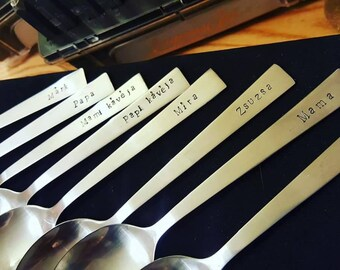 Bundle of 10 personalised tea and coffee spoons