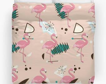 Flamingo Duvet Cover, Pink Flamingo Bedding, Pink Flamingo Duvet Cover,  Doona Cover, home decor, Mid Century Decor, Modern Art,