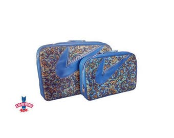Vintage Suitcase Set, Paisley Suitcases, A.D. Sutton Sons, 1960s Vintage Luggage, Blue Suitcases Vacation Travel Bags, + KEY Vintage Luggage