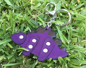 Purple Stegosaurus Leather Keychain
