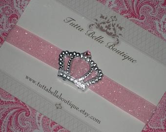 Silver Crown Headband, Baby Headband, Crystal Tiara on Pink Glitter Headband, Baby Crown, Toddler headband, Newborn Headband