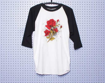 Vintage ROSES Raglan T-shirt Black and White Soft and Thin Classic Rock Traditional American Barbed Wire Kitsch Stanley Desantis