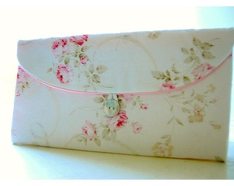 Shabby chic bag Bridesmaid Clutch purse gift pink rose rustic wedding shabby chic clutch bridesmaid bag Bridal clutch Wedding clutch for her