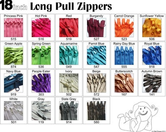 Zippers - 18 Inch 4.5 Ykk Purse Zippers with a Long Handbag Pulls Mix and Match Your Choice of 25 Zippers- New Colors Added-