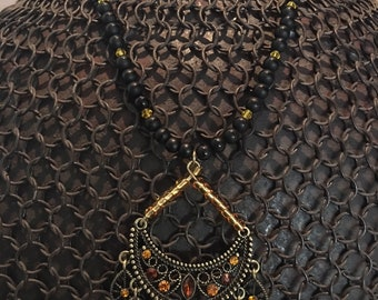 Delicate Filigree Chandelier Pendant with Striped Black Onyx Rounds and Unique Clock Toggle Clasp Necklace