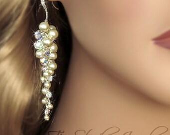Pearl Chandelier Bridal Earrings - Crystal Beach Theme Bridesmaid Wedding Jewelry Earings