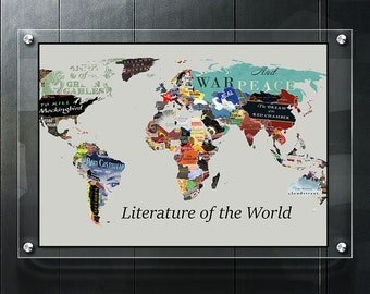 World map poster etsy literature map world literature map literary poster literature art literary print literary gifts world map poster book lover gift world map gumiabroncs Gallery