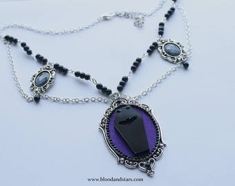Gothic Coffin Cameo Necklace