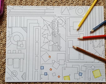 Adult Coloring Page - Abstract Geometric