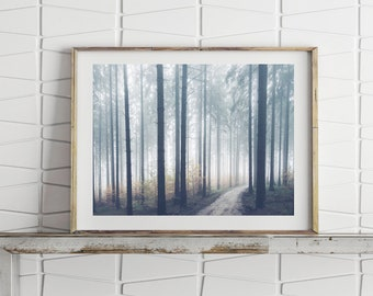 Foggy Forest Print, Nature Art Large Wall Art Print, Landscape Forest Wall Art, Foggy Forest Art Digital Prints Printable Art Nature Prints
