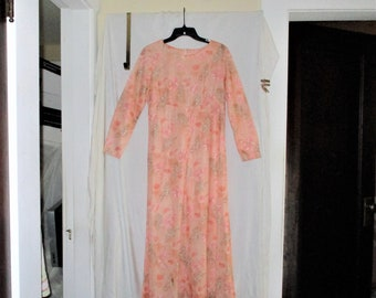 Vintage 60s Peach Poly Maxi Flower Print Dress sz M Hand Made As Is