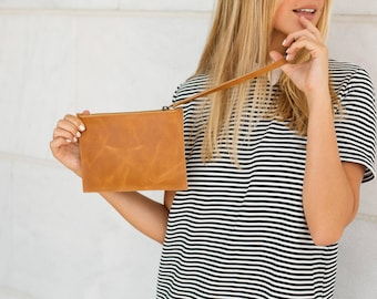 Leather Wristlet, Handmade Leather Clutch, Leather Pouch, Leather Wristlet Wallet, Clutch Wallet, Genuine Leather Pouch, MAYKO Basic