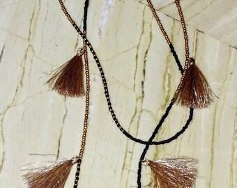 Golden Large Multiple Tassel Necklace / Black and Gold Seed Bead & Tassel Necklace / Tassel Necklace / Multi-Layered Christmas Necklace